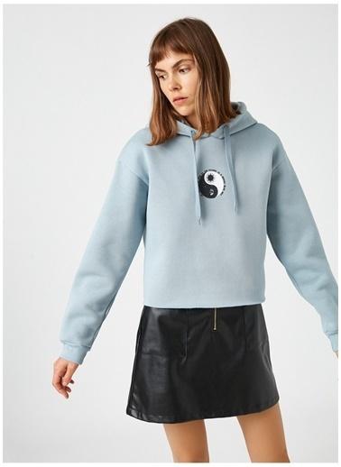 Koton Koton Kapüşonlu Baskılı Sweatshirt Mavi